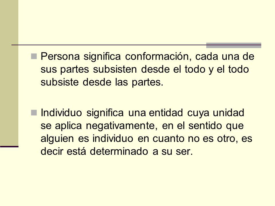 Persona significa conformación, cada una de sus partes subsisten desde el todo y el todo subsiste desde las partes.