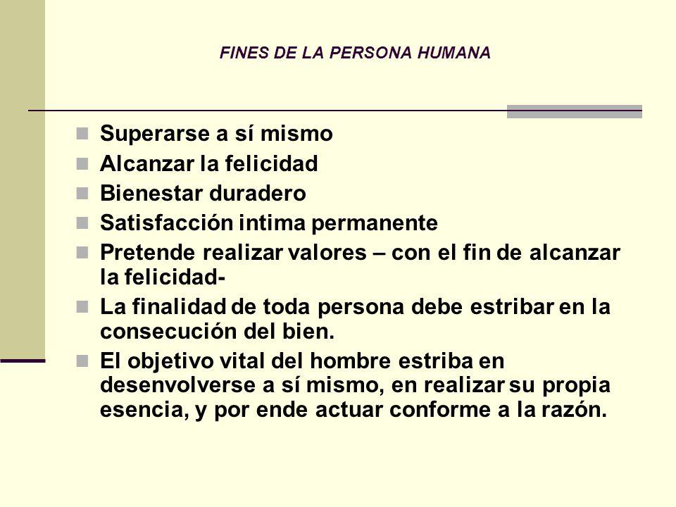 FINES DE LA PERSONA HUMANA