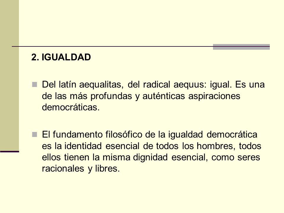 2. IGUALDAD Del latín aequalitas, del radical aequus: igual. Es una de las más profundas y auténticas aspiraciones democráticas.