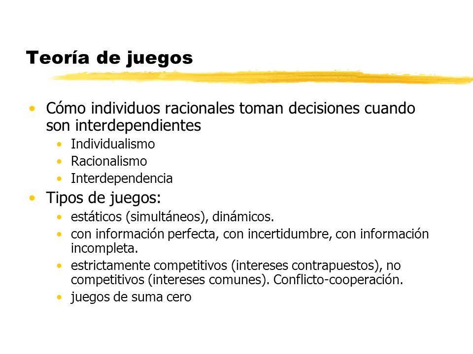 Teoría de juegos Cómo individuos racionales toman decisiones cuando son interdependientes. Individualismo.