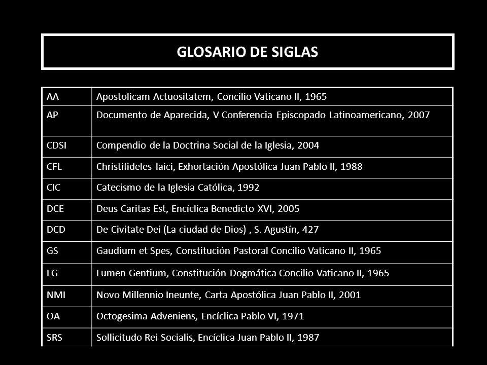 GLOSARIO DE SIGLAS AA. Apostolicam Actuositatem, Concilio Vaticano II, 1965. AP.
