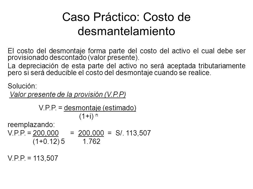 Caso Práctico: Costo de desmantelamiento