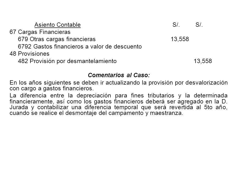 Asiento Contable S/. S/. 67 Cargas Financieras. 679 Otras cargas financieras 13,558. 6792 Gastos financieros a valor de descuento.