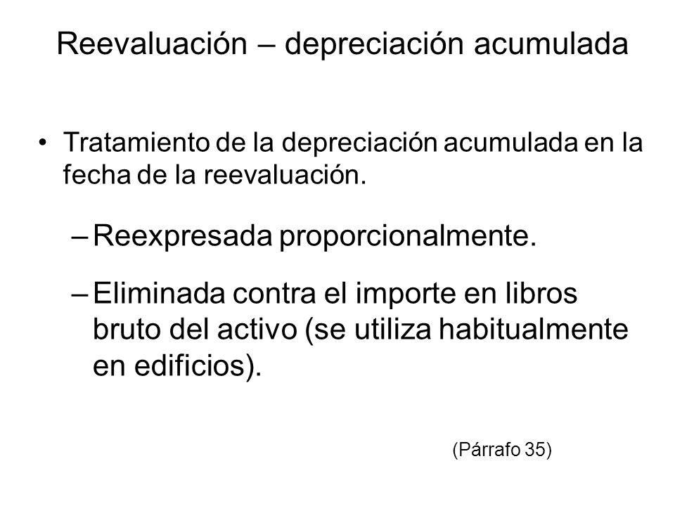 Reevaluación – depreciación acumulada