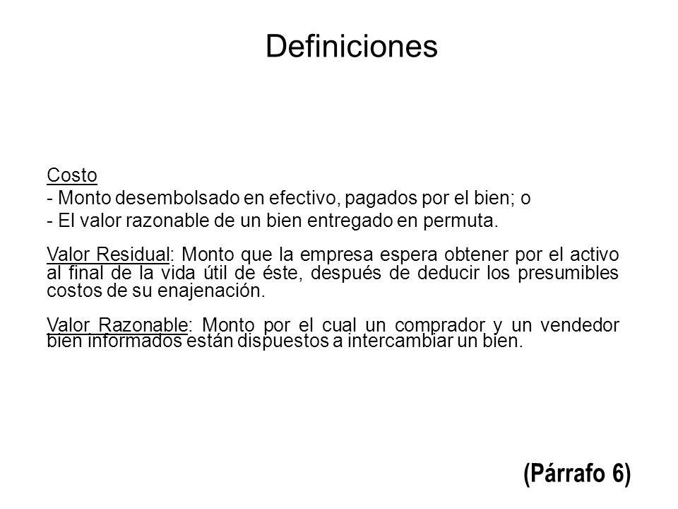 Definiciones (Párrafo 6) Costo