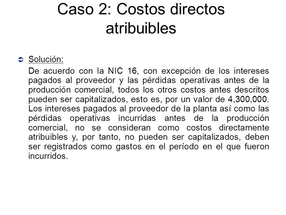 Caso 2: Costos directos atribuibles