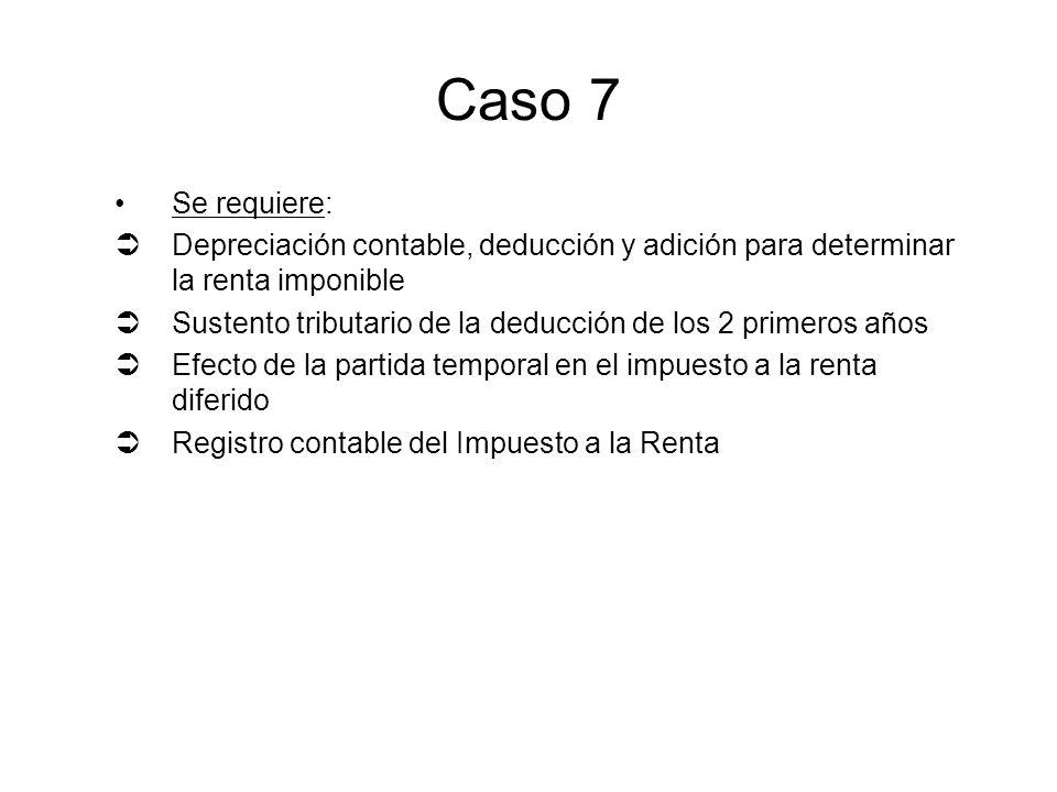 Caso 7 Se requiere: Depreciación contable, deducción y adición para determinar la renta imponible.