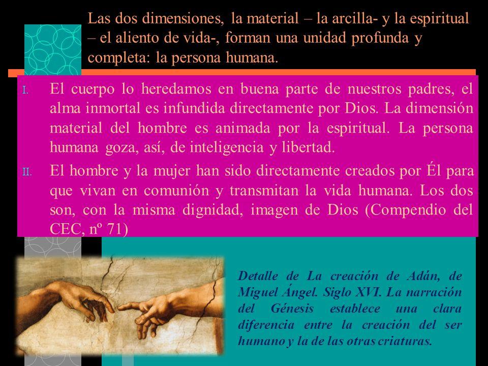 Las dos dimensiones, la material – la arcilla- y la espiritual – el aliento de vida-, forman una unidad profunda y completa: la persona humana.
