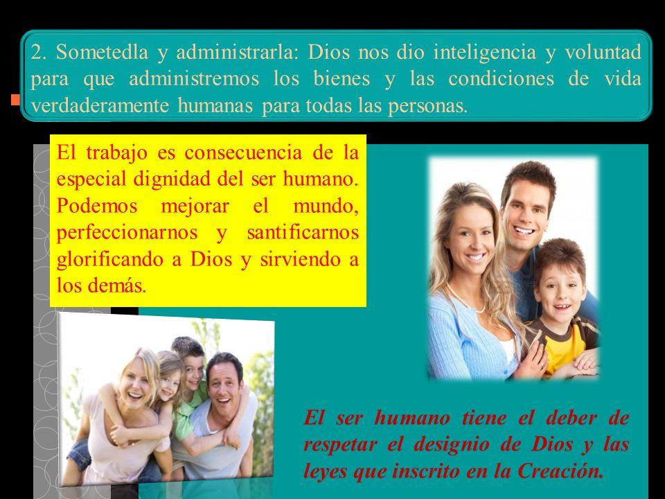 2. Sometedla y administrarla: Dios nos dio inteligencia y voluntad para que administremos los bienes y las condiciones de vida verdaderamente humanas para todas las personas.