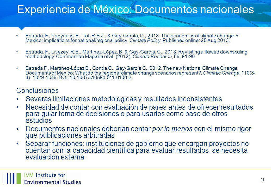 Experiencia de México: Documentos nacionales