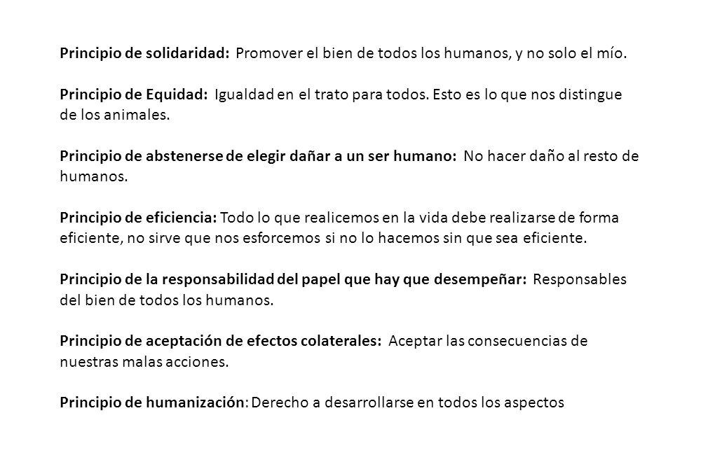 Principio de solidaridad: Promover el bien de todos los humanos, y no solo el mío.