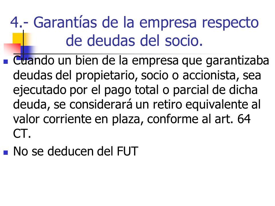 4.- Garantías de la empresa respecto de deudas del socio.