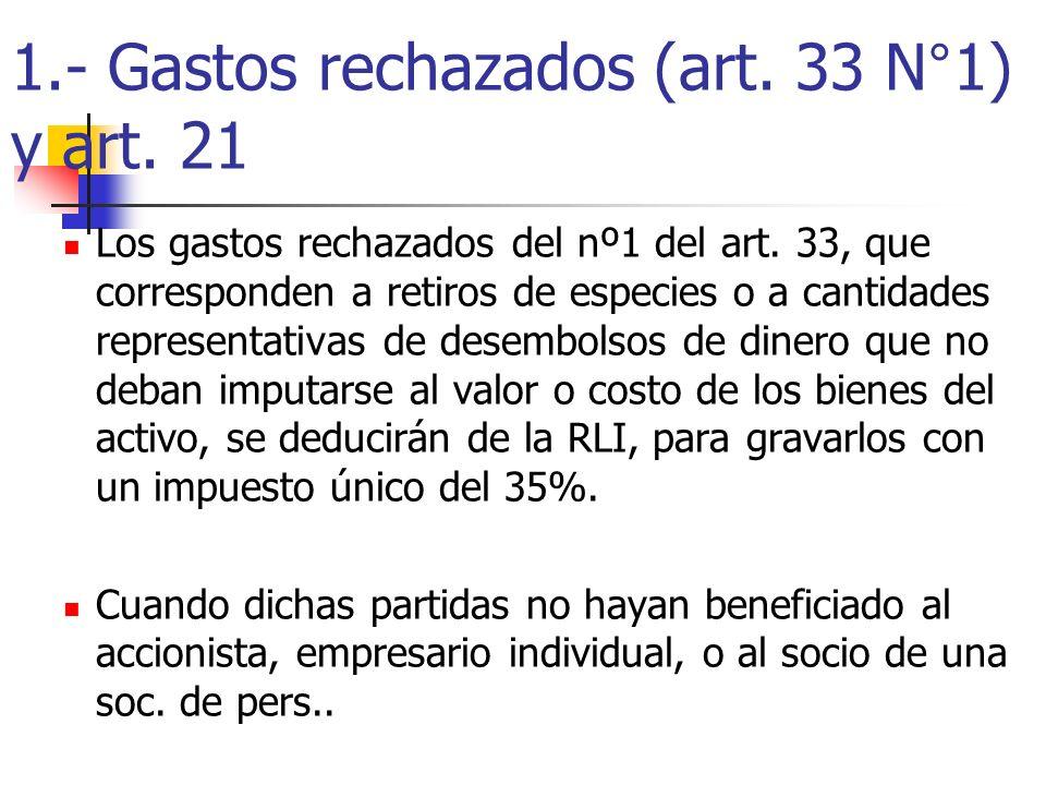1.- Gastos rechazados (art. 33 N°1) y art. 21