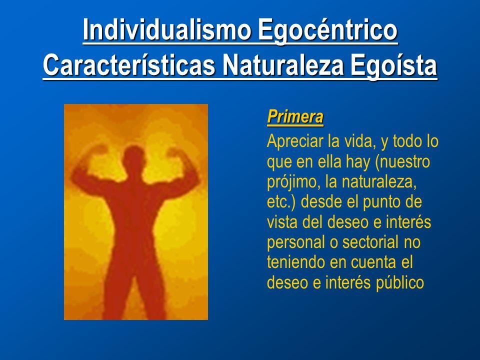 Individualismo Egocéntrico Características Naturaleza Egoísta