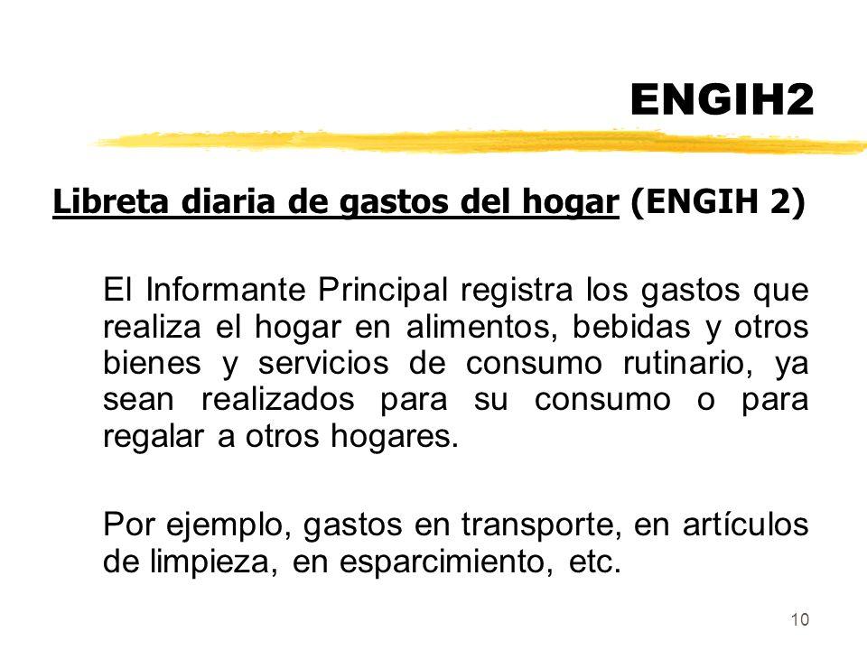 ENGIH2 Libreta diaria de gastos del hogar (ENGIH 2)
