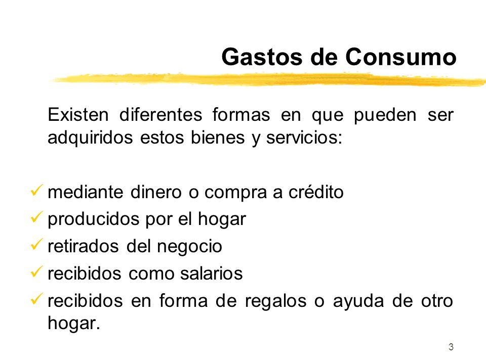 Gastos de Consumo Existen diferentes formas en que pueden ser adquiridos estos bienes y servicios: mediante dinero o compra a crédito.