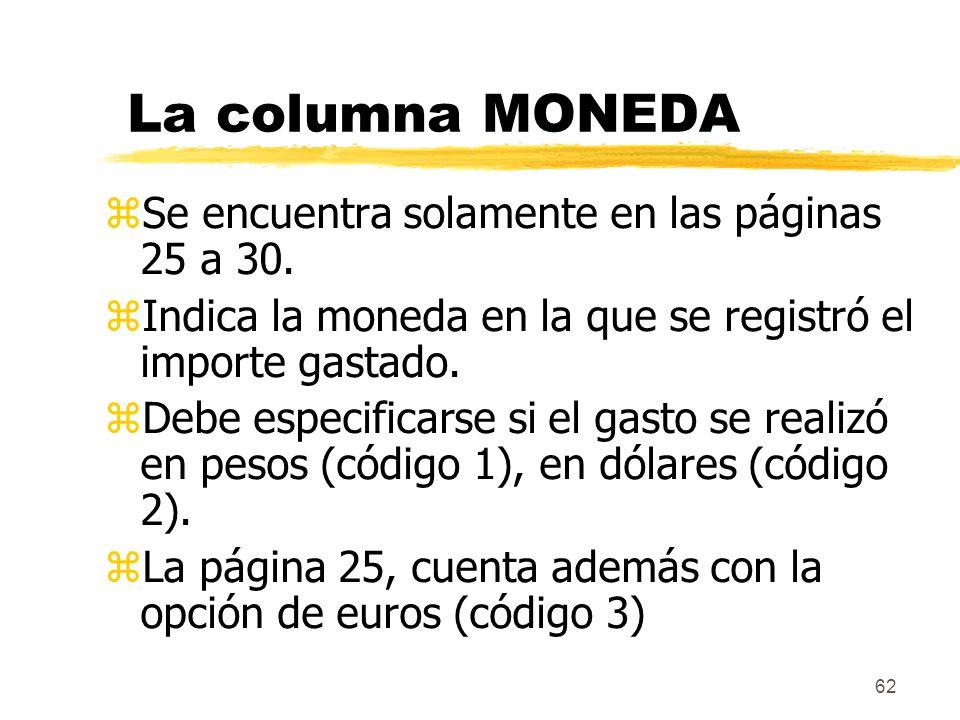 La columna MONEDA Se encuentra solamente en las páginas 25 a 30.