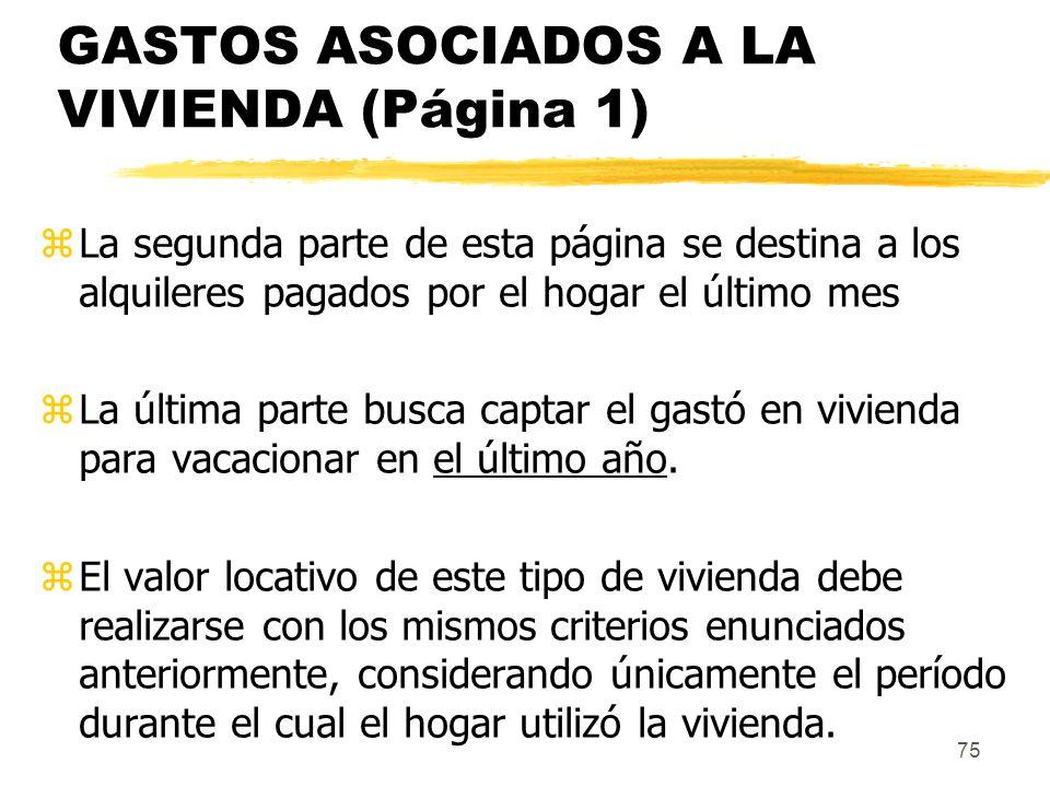 GASTOS ASOCIADOS A LA VIVIENDA (Página 1)