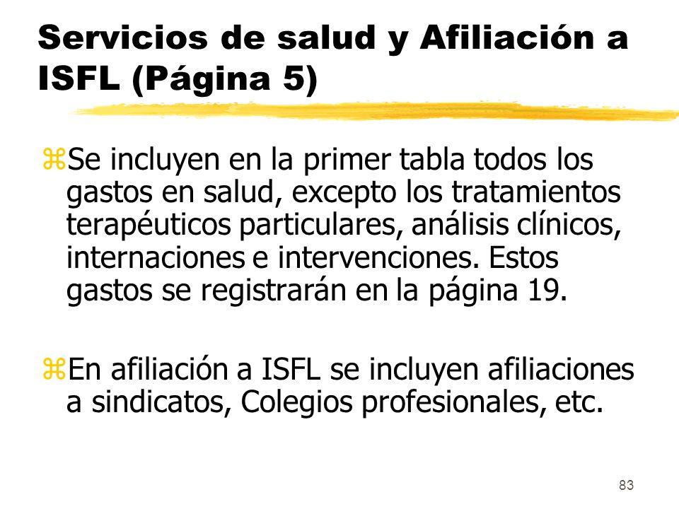 Servicios de salud y Afiliación a ISFL (Página 5)