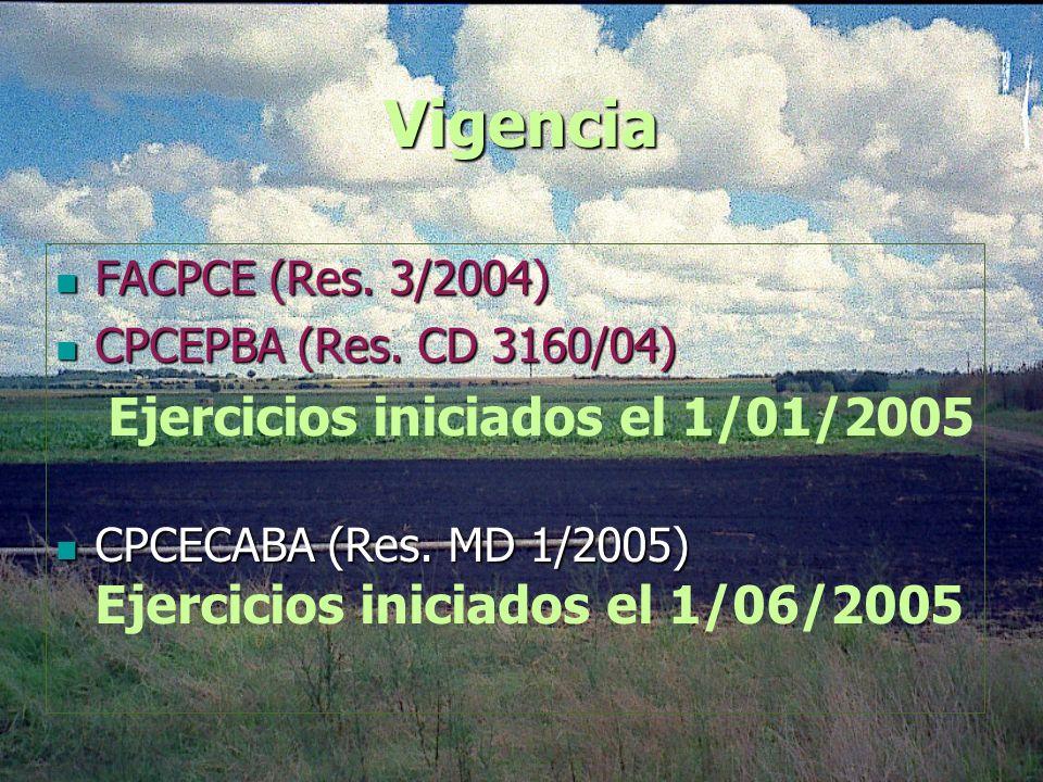 Vigencia Ejercicios iniciados el 1/01/2005 FACPCE (Res. 3/2004)