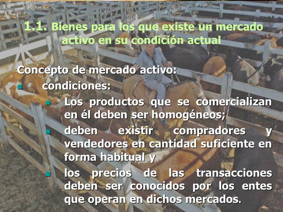 1.1. Bienes para los que existe un mercado activo en su condición actual