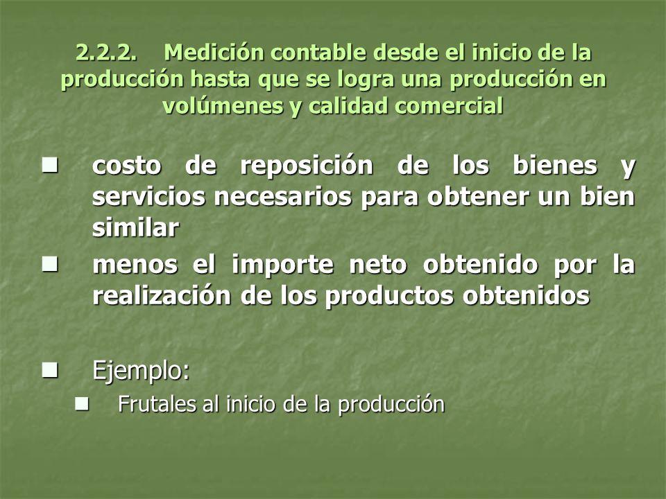 2.2.2. Medición contable desde el inicio de la producción hasta que se logra una producción en volúmenes y calidad comercial