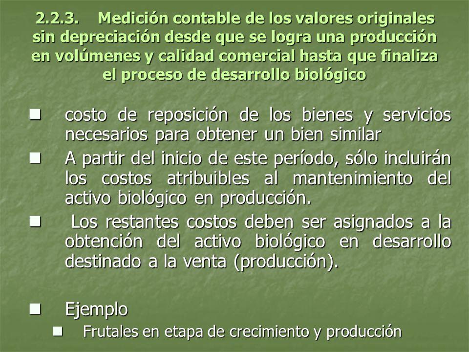2.2.3. Medición contable de los valores originales sin depreciación desde que se logra una producción en volúmenes y calidad comercial hasta que finaliza el proceso de desarrollo biológico