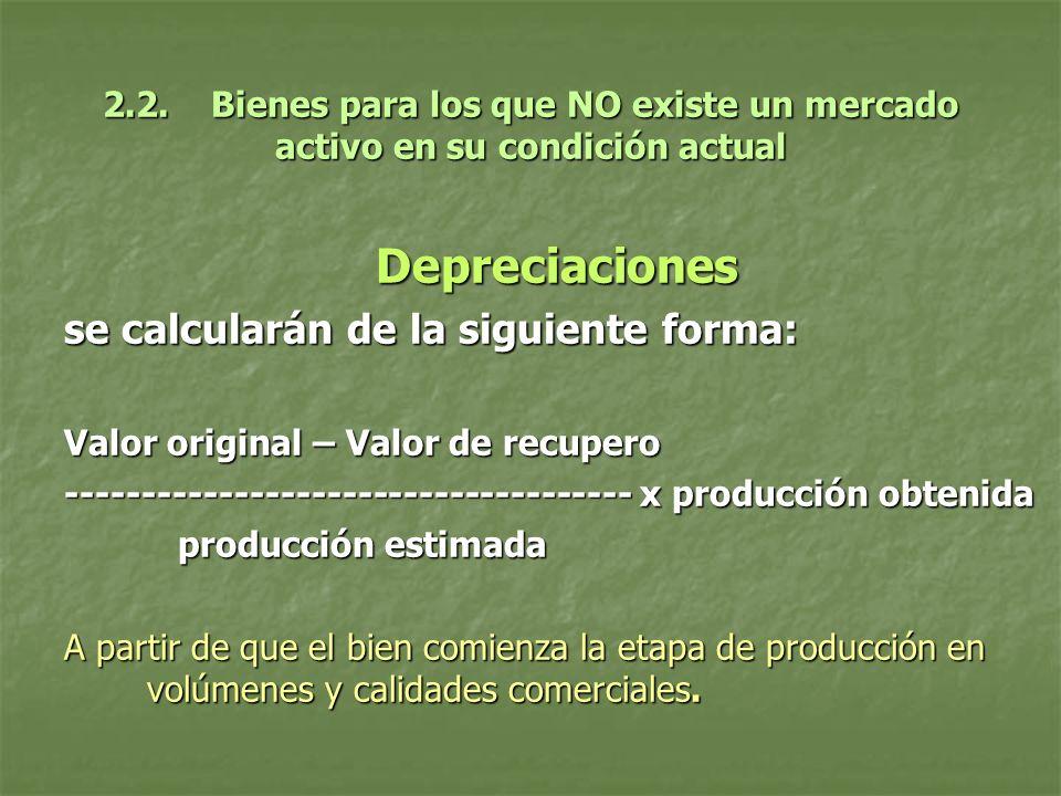 Depreciaciones se calcularán de la siguiente forma: