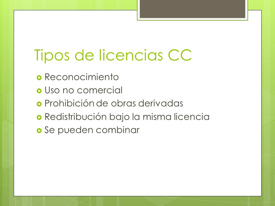 Tipos de licencias CC Reconocimiento Uso no comercial