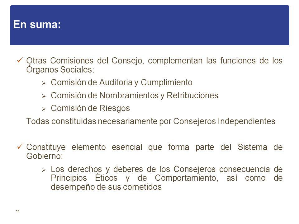 En suma: Otras Comisiones del Consejo, complementan las funciones de los Órganos Sociales: Comisión de Auditoria y Cumplimiento.