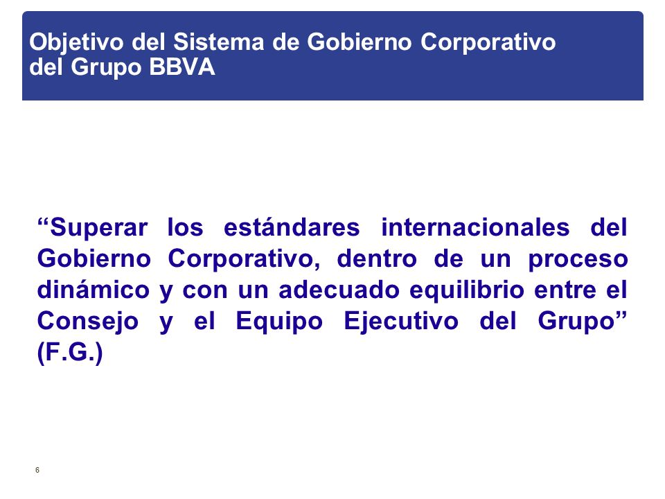 Objetivo del Sistema de Gobierno Corporativo del Grupo BBVA