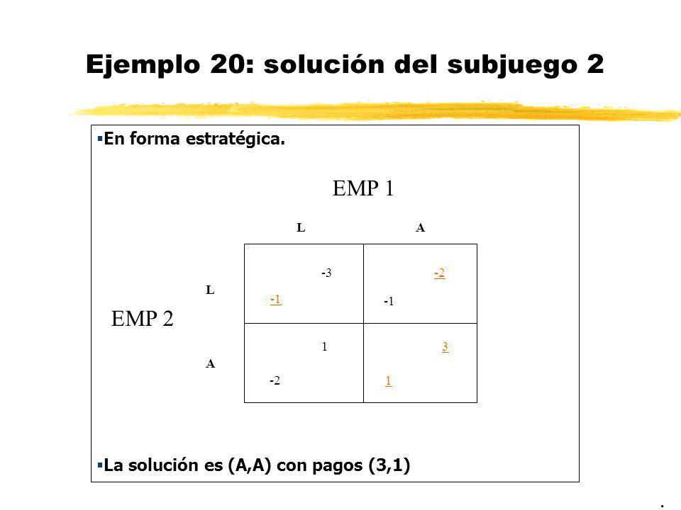 Ejemplo 20: solución del subjuego 2