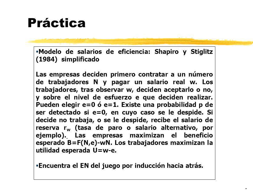 Práctica Modelo de salarios de eficiencia: Shapiro y Stiglitz (1984) simplificado.