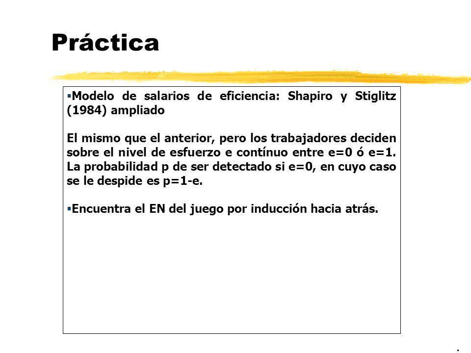 Práctica Modelo de salarios de eficiencia: Shapiro y Stiglitz (1984) ampliado.