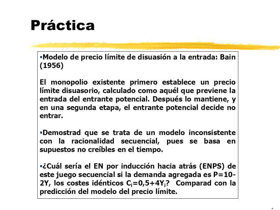 Práctica Modelo de precio límite de disuasión a la entrada: Bain (1956)