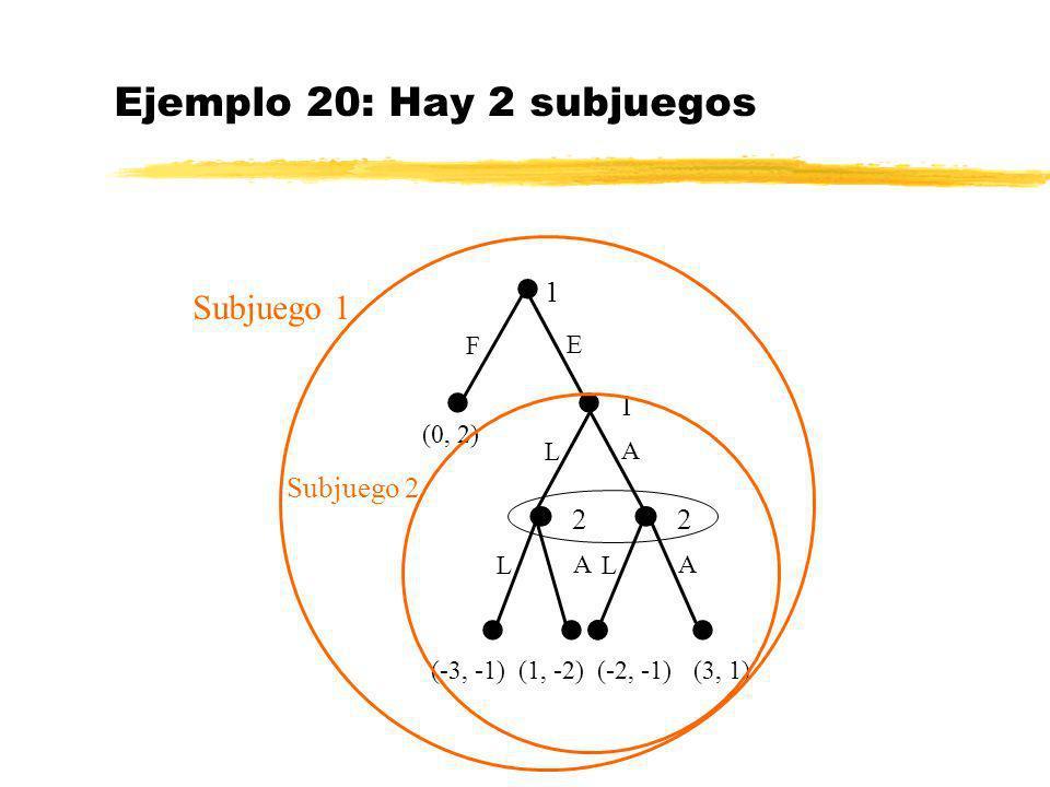 Ejemplo 20: Hay 2 subjuegos