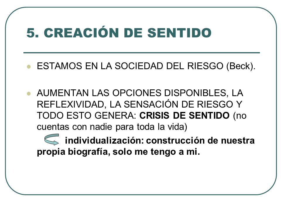 5. CREACIÓN DE SENTIDO ESTAMOS EN LA SOCIEDAD DEL RIESGO (Beck).