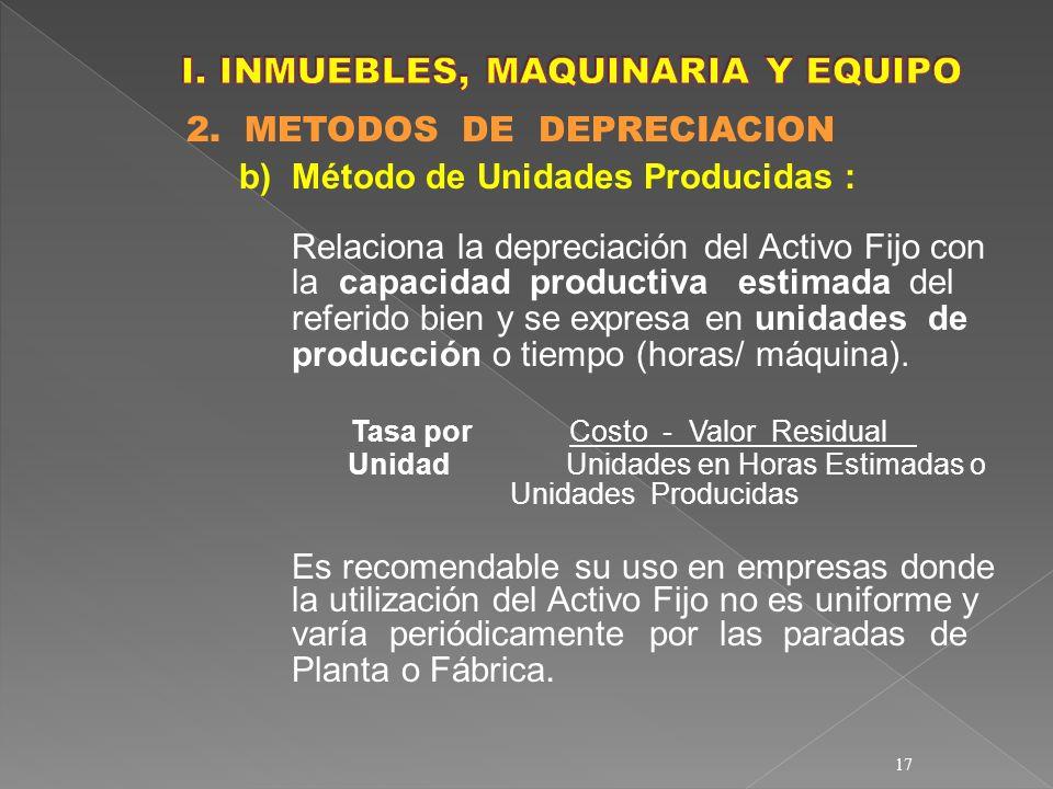 I. INMUEBLES, MAQUINARIA Y EQUIPO