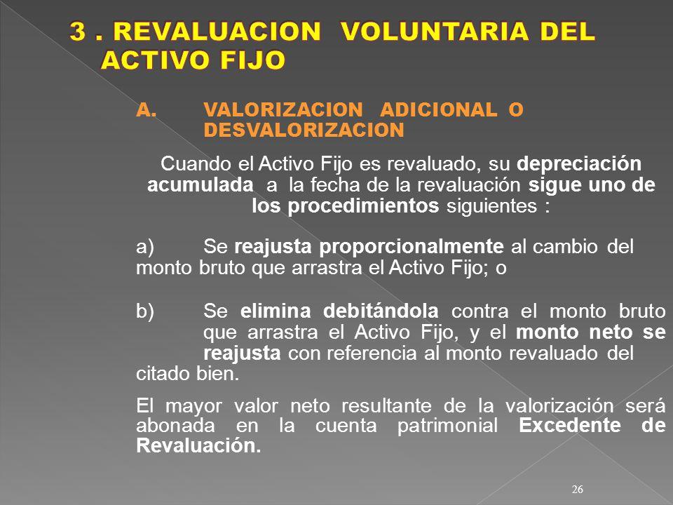 3 . REVALUACION VOLUNTARIA DEL ACTIVO FIJO