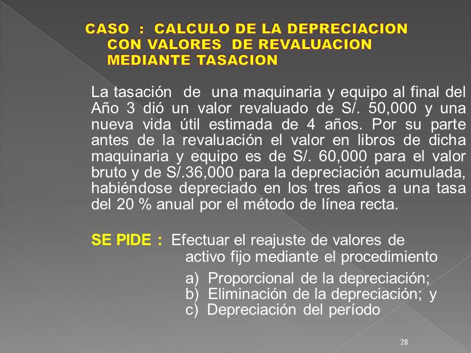 CASO :. CALCULO DE LA DEPRECIACION. CON VALORES DE REVALUACION