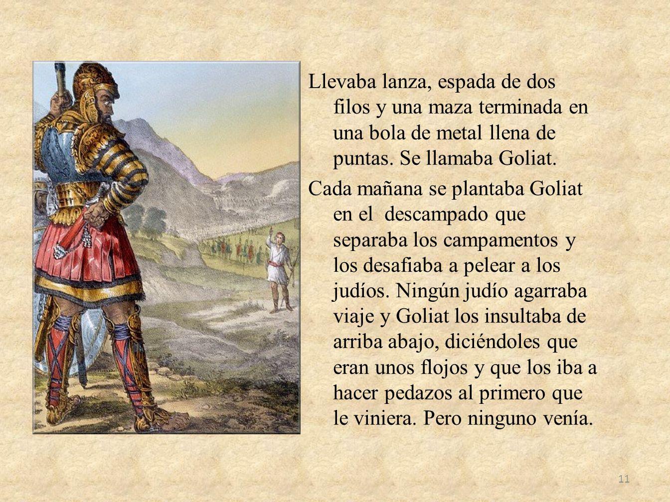 Llevaba lanza, espada de dos filos y una maza terminada en una bola de metal llena de puntas.