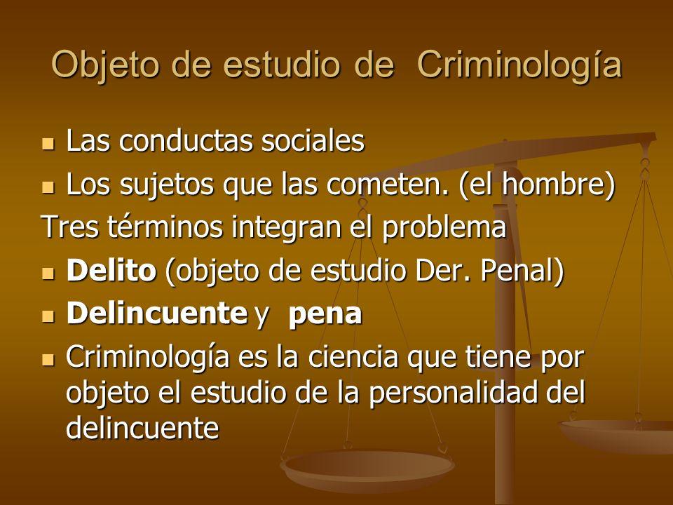 Objeto de estudio de Criminología