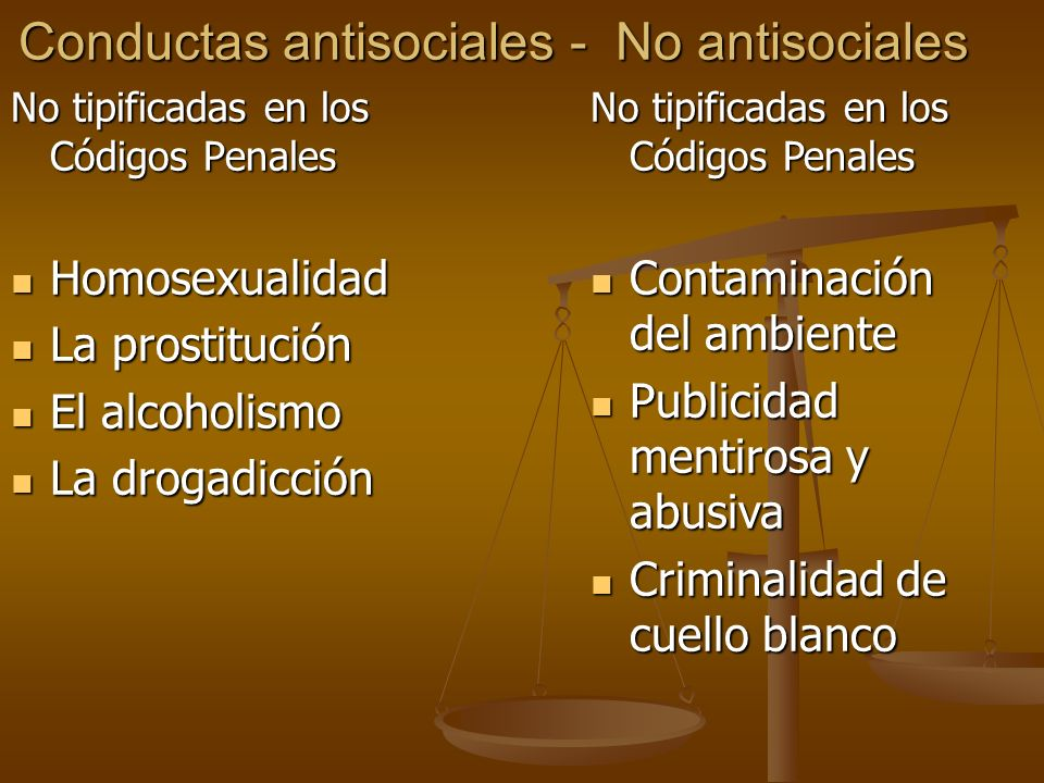 Conductas antisociales - No antisociales