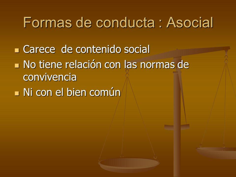 Formas de conducta : Asocial