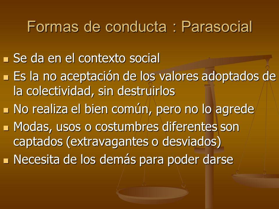 Formas de conducta : Parasocial