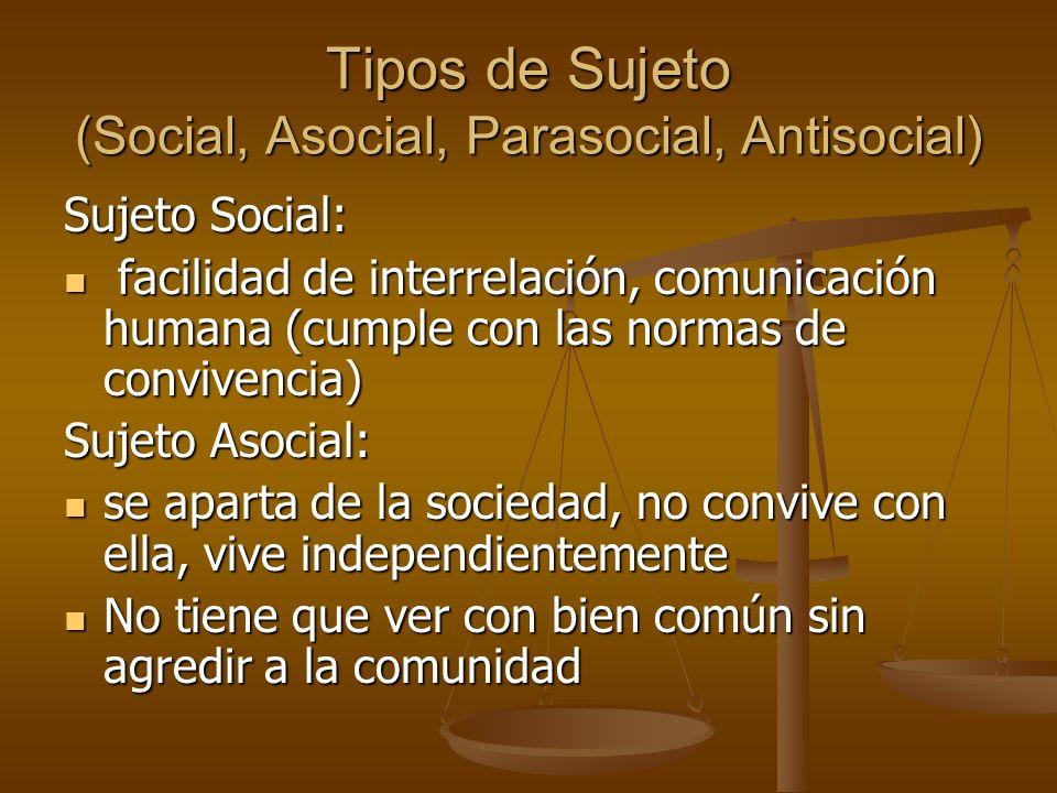 Tipos de Sujeto (Social, Asocial, Parasocial, Antisocial)