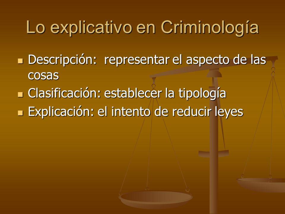 Lo explicativo en Criminología