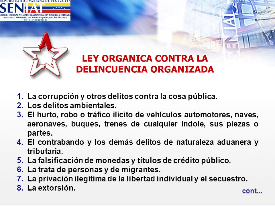 LEY ORGANICA CONTRA LA DELINCUENCIA ORGANIZADA