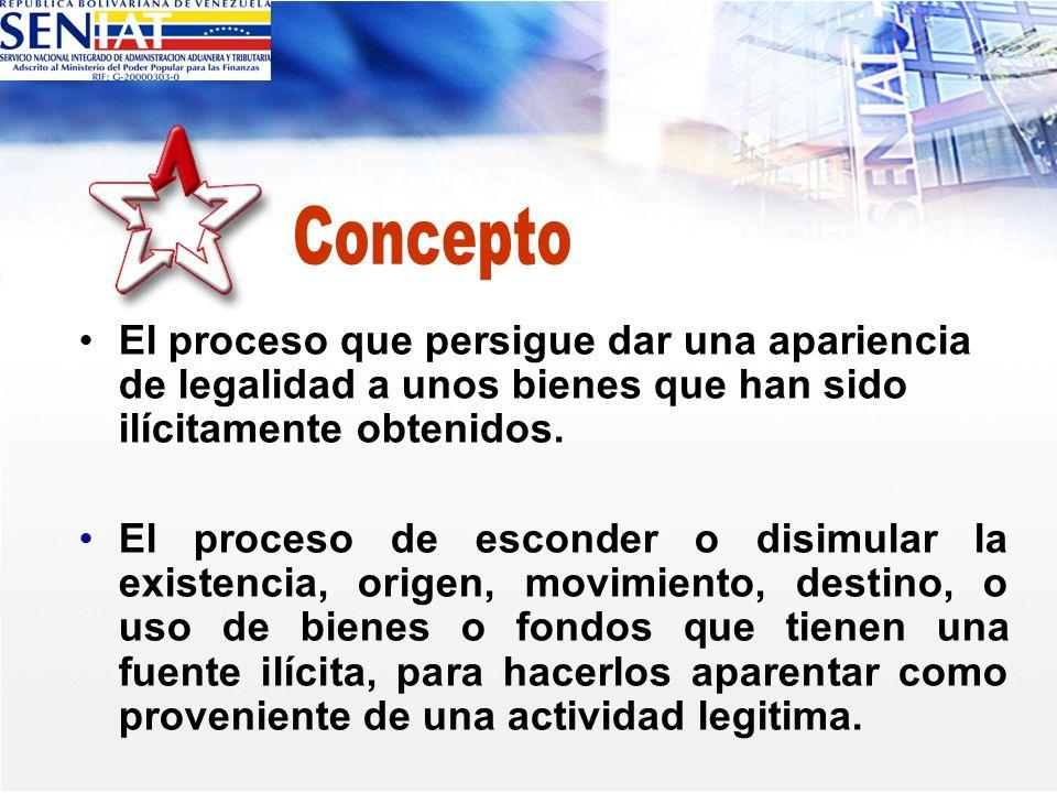 Concepto El proceso que persigue dar una apariencia de legalidad a unos bienes que han sido ilícitamente obtenidos.