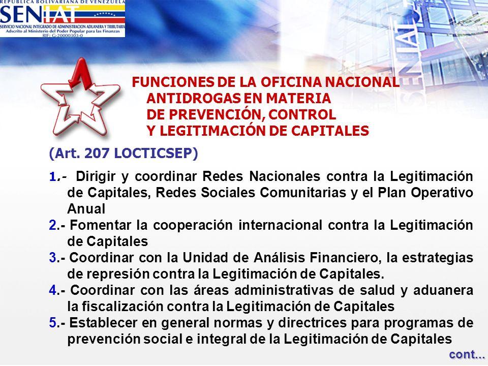 Y LEGITIMACIÓN DE CAPITALES (Art. 207 LOCTICSEP)